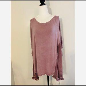 Umgee Pink Short Sleeve Oversized Shirt Medium